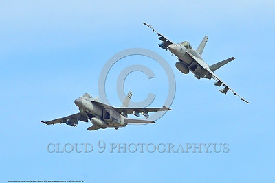 F-18E-USN-VFA-195 0020 Two flying Boeing F-18E Super Hornets USN jet fighters VFA-195 DAMBUSTERS 3-2017 military airplane picture by Peter J  Mancus