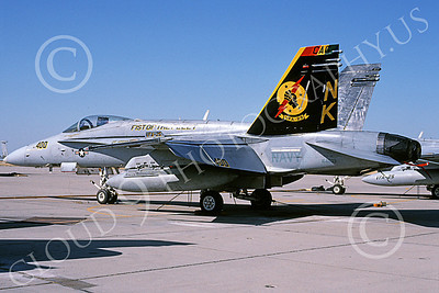 Boeing F-18C-USN 00057 A static Boeing F-18C Hornet USN VFA-25 FIST OF THE FLEET NAS Fallon 5-2002 military airplane picture by Michael Grove, Sr