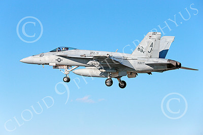 Boeing F-18E-USN 00080 A landing Boeing F-18E Hornet jet fighter USN VFA-31 TOMCATTERS USS George H W Bush AJ code l10-2013 military airplane picture by Peter J Mancus