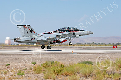 Boeing F-18F-USN 000125 A Boeing F-18F Super Hornet jet fighter USN VFA-41 Black Aces CAG on take-off roll at NAS Fallon 7-2014 military airplane picture by Peter J Mancus