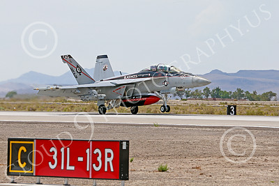 Boeing F-18F-USN 00027 A Boeing F-18F Super Hornet jet fighter USN VFA-41 Black Aces CAG on take-off roll at NAS Fallon 7-2014 military airplane picture by Peter J Mancus