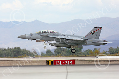 Boeing F-18F-USN 00098 A Boeing F-18F Super Hornet jet fighter USN VFA-41 Black Aces lands at NAS Fallon 7-2014 military airplane picture by Peter J Mancus