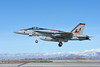 F-18E-USN-VFA-86-0002 A colorful Boeing F-18E Super Hornet jet fighter USN VFA-86 SIDEWINDERS CAG USS Dwight D  Eisenhower 166950 lands at NAS Fallon 2015 military airplane picture by Carl E  Porter