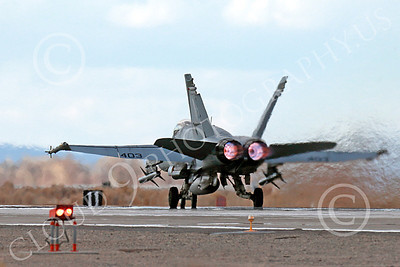 AB-F-18USN-L 00029 A Boeing F-18C Hornet USN VFA-94 MIGHTY SHRIKES takes off NAS Fallon 3-2013 military airplane picture by Peter J Mancus