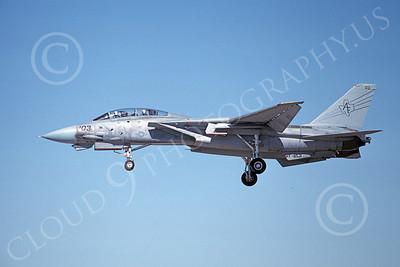 F-14USN  01270 A landing Grumman F-14 Tomcat USN 158626 VF-201 HUNTERS NAS Fallon 8-1988, by Michael Grove, Sr