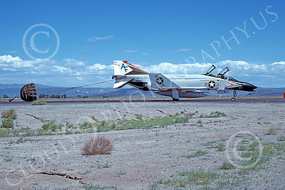 F-4USN 00004 A taxing McDonnell Douglas F-4N Phantom II USN 152244 VF-201 HUNTERS commanding officer's with chute NAS Fallon 7-1977 military airplane picture by Michael Grove, Sr