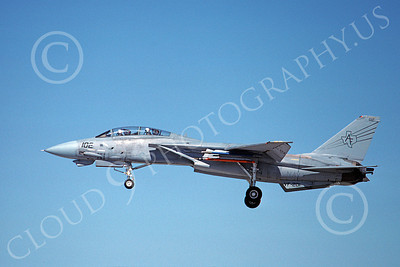 F-14USN  01258 A landing Grumman F-14 Tomcat USN 158627 VF-201 HUNTERS 8-1988, by Michael Grove, Sr
