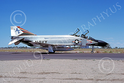 F-4USN 00002 A taxing McDonnell Douglas F-4N Phantom II USN 152244 VF-201 HUNTERS commanding officer's NAS Fallon 7-1977 military airplane picture by Michael Grove, Sr