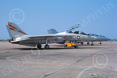 F-14USN  01259 A static lineup of Grumman F-14 Tomcats USN 162709 VF-201 HUNTERS 6-1988, by Keith Snyder