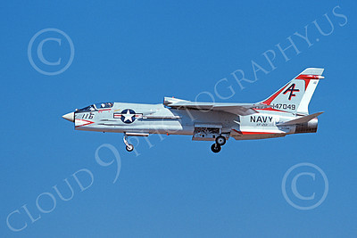 F-8USN 00022 A landing Vought F-8 Crusader jet fighter USN 147049 VF-201 HUNTERS AF code 9-1974 military airplane picture by Michael Grove