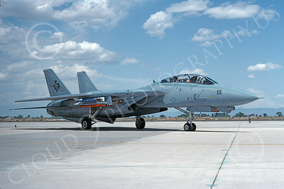 F-14USN  01265 A taxing Grumman F-14 Tomcat USN 158633 VF-201 HUNTERS NAS Fallon 5-1992, by Michael Grove, Sr