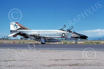 F-4USN 00105 A taxing McDonnell Douglas F-4N Phantom II US Navy 152244 VF-201 Hunters AF code commaning officer's plane NAS Fallon 7-1977 military airplane picture by Michael Grove, Sr