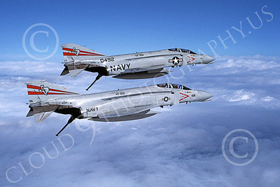 F-4USN 00270 Two flying McDonnell Douglas F-4 Phantom IIs USN 150492 153019 VF-201 HUNTERS military airplane picture by Robert L Lawson