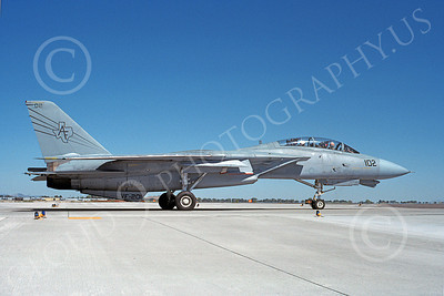 F-14USN  01267 A taxing Grumman F-14 Tomcat USN 158627 VF-201 HUNTERS NAS Fallon 8-1988, by Michael Grove, Sr