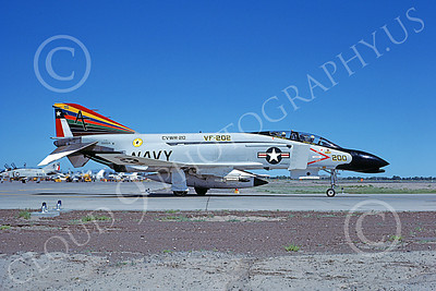 F-4USN 00005 A taxing McDonnell Douglas F-4N Phantom II USN 152254 VF-202 SUPERHEATS commanding officer's NAS Fallon 7-1977 military airplane picture by Michael Grove, Sr