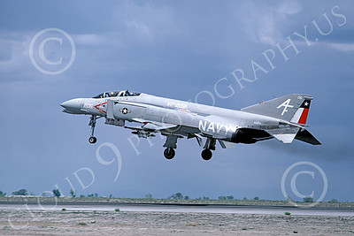 F-4USN 00700 A landing McDonnell Douglas F-4N Phantom II US Navy 152214 VF-202 SUPERHEATS AF code NAS Fallon 6-1980 military airplane picture by Michael Grove