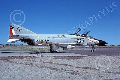 F-4USN 00685 A taxing McDonnell Douglas F-4N Phantom II US Navy 152277 VF-202 SUPERHEATS AF code NAS Fallon 7-1977 military airplane picture by Michael Grove