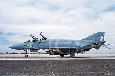 F-4USN 00651 A taxing McDonnell Douglas F-4 Phantom II US Navy 5821 VF-202 SUPERHEATS commanding officer's plane AF code NAS Fallon 5-1983 military airplane picture by Michael Grove, Sr