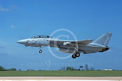 F-14USN  01278 A landing Grumman F-14 Tomcat USN 158637 VF-202 SUPERHEATS Carswell AFB 8-1988, by Michael Grove, Sr