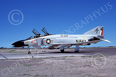 F-4USN 00587 A taxing McDonnell Douglas F-4J Phantom II USN VF-202 SUPERHEATS AF NAS Fallon July 1977 military airplane picture by Michael Grove, Sr