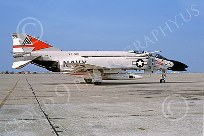 F-4USN 00649 A static McDonnell Douglas F-4S Phantom II USN 150464 VF-301 DEVIL'S DISCIPLES ND NAS Miramar Feb 1977 military airplane picture by Michael Grove, Sr