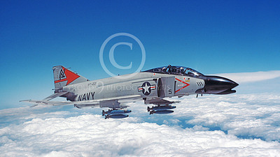F-4USN 00568B A flying McDonnell Douglas F-4J Phantom II USN VF-301 DEVIL'S DISCIPLES ND with bombs  June 1980 military airplane picture by Jan C Jacobs