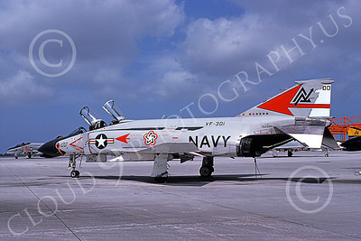F-4USN 00617 A static McDonnell Douglas F-4B Phantom II USN 152986 VF-301 DEVIL'S DISCIPLES commanding officer's ND BICENTENNIAL NAS Miramar May 1976 military airplane picture by Michael Grove, Sr