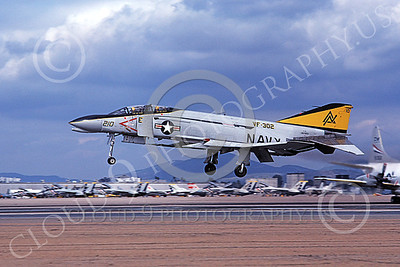 F-4USN 00496 A landing McDonnell Douglas F-4 Phantom II US Navy  VF-302 STALLIONS ND NAS Miramar Feb 1979 military airplane picture by Michael Grove, Sr