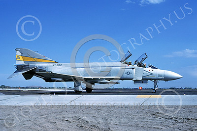 F-4USN 00525 A taxing McDonnell Douglas F-4S Phantom II US Navy VF-302 STALLIONS ND NAS Fallon Sept 1981 military airplane picture by Michael Grove, Sr