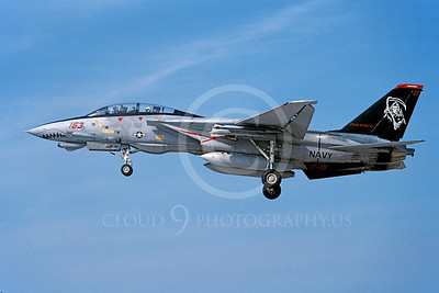 F-14USN 00906 A landing Grumman F-14 Tomcat USN 163414 VF-101 GRIM REAPERS SHARKMOUTH 5-2004, by J E Michaels