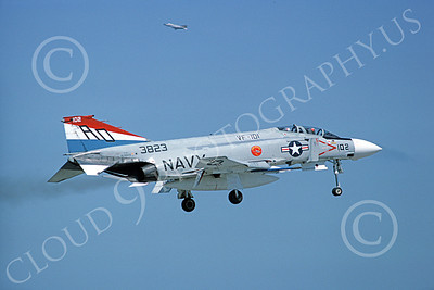 F-4USN 00810 A landing McDonnell Douglas F-4J Phantom II US Navy 3823 VF-101 GRIM REAPERS AD code 5-1977 military airplane picture by Michael Grove, Sr