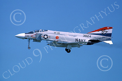 F-4USN 00820 A landing McDonnell Douglas F-4J Phantom II US Navy 3824 VF-101 GRIM REAPERS AD code 5-1976 military airplane picture by Michael Grove, Sr