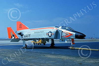 F-4USN 00018 A static McDonnell Douglas F-4A Phantom II US Navy 145307 VF-101 GRIM REAPERS SAGEBURNER AD code 3-1968 military airplane picture by Michael Grove, Sr