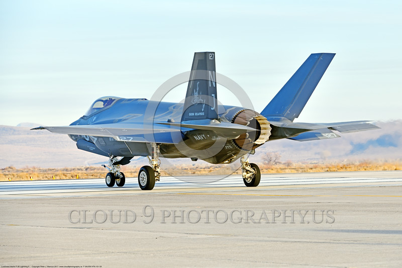 F-35USN-VFA-101 0003 A Lockheed Martin F-35C USN stealth jet fighter 169304 VFA-101 GRIM REAPERS NJ code taxis for take-off at NAS Fallon 12-2017 military airplane picture by Peter J  Mancus     DONEwt