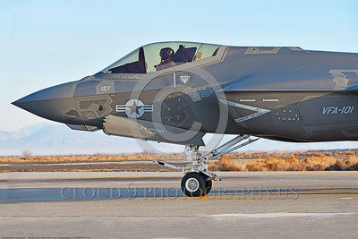 F-35USN-VFA-101 0006 Close up of the nose of a Lockheed Martin F-35C USN stealth jet fighter VFA-101 GRIM REAPERS NJ code taxis for take-off at NAS Fallon 12-2017 military airplane picture by Peter J  Mancus     DONEwt