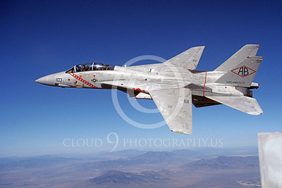 F-14USN 00932 An in-flight, banking, Grumman F-14 Tomcat USN VF-102 DIAMONDBACKS USS America 10-1983, by Robert L Lawson