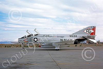 F-4USN 00791 A taxing McDonnell Douglas F-4J Phantom II US Navy 155534 VF-102 DIAMONDBACKS AG code NAS Fallon 5-1980 military airplane picture by Michael Grove, Sr