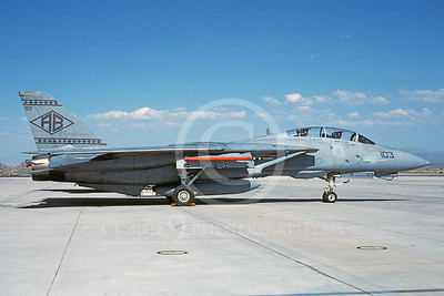 F-14USN 00943 A static Grumman F-14 Tomcat USN 163227 VF-102 DIAMONDBACKS USS John F Kennedy NAS Fallon 4-2000, by Michael Grove, Sr