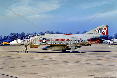 F-4II-USN-VF-102 001 A static McDD F-4J Phantom II USN jet fighter, 155558, VF-102 DIAMONDBACKS USS Independence AG tail code, 4-1972 Andrews AFB, military airplane picture by Frank MacSorley, Stephen W  D  Wolf coll     853_7344     Dt