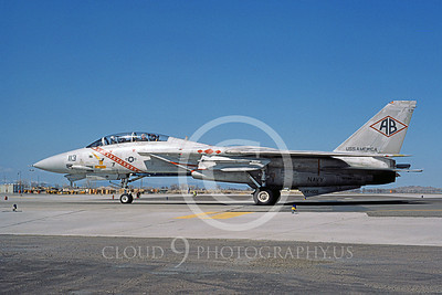 F-14USN 00933 A taxing Grumman F-14 Tomcat USN VF-102 DIAMONDBACKS USS America NAS Fallon 3-1985, by Michael Grove, Sr