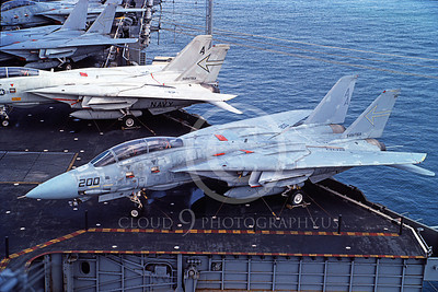 F-14USN 00977 A static Grumman F-14 Tomcat USN VF-103 JOLLY ROGERS on the USS Saratoga, 9-1984, by