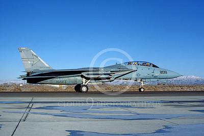 F-14USN 00987 A taxing Grumman F-14 Tomcat USN VF-103 SLUGGERS USS Saratoga NAS Fallon 2-1985, by Michael Grove, Sr