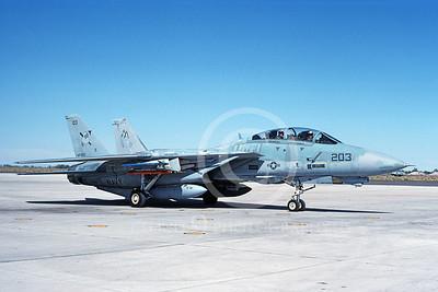 F-14USN 00983 A taxing Grumman F-14 Tomcat USN 162920 VF-103 SLUGGERS USS Saratoga NAS Fallon 10-1991, by Michael Grove, Sr