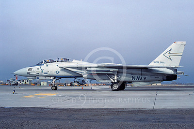 F-14USN 00991 A taxing Grumman F-14 Tomcat USN VF-103 SLUGGERS USS Saratoga NAS Fallon 2-1985, by Michael Grove, Sr