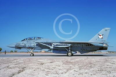 F-14USN 00979 A taxing Grumman F-14 Tomcat USN VF-103 JOLLY ROGERS USS Saratoga NAS Fallon 10-1991, by Michael Grove, Sr