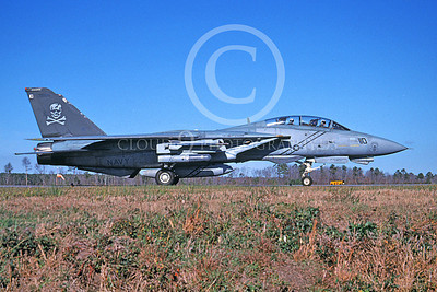 F-14USN 00971 A Grumman F-14 Tomcat USN 161435 VF-103 JOLLY ROGERS USS John F Kennedy taxis at NAS Oceana 1-2005, by David F Brown