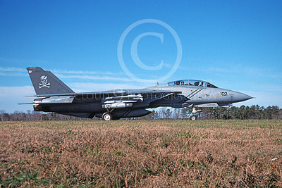 F-14USN 00967 A Grumman F-14 Tomcat USN 161862 VF-103 JOLLY ROGERS taxis at NAS Oceana 12-2004, by David F Brown