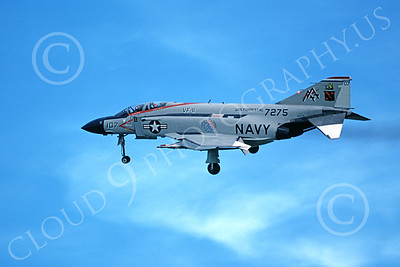 F-4USN 00232 A landing McDonnell Douglas F-4J Phantom II US Navy 157275 VF-11 RED RIPPERS USS Forrestal BICENTENNIAL 6-1976 military airplane picture by Michael Grove, Sr