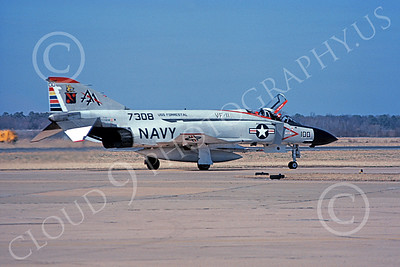 F-4USN 00803 A taxing McDonnell Douglas F-4J Phantom II US Navy 1557308 VF-11 RED RIPPERS commanding officer's plane USS Forrestal NAS Oceana 3-1977 military airplane picture by Jim Leslie