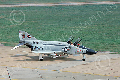 F-4USN 00765 A taxing McDonnell Douglas F-4J Phantom II US Navy 155549 VF-11 RED RIPPERS USS Forrestal AA code 8-1977 military airplane picture by Michael Grove, Sr